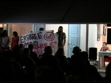 Flash mob dei GD di Ostia nella serata con Marco Travaglio organizzata presso stabilimento Le Dune