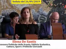 Elisa De Santis - Assessore alle Politiche della Scuola, Edilizia Scolastica, Cultura, Sport e Politiche Giovanili - Seduta del Consiglio Municipale Roma VII del 26/09/2019