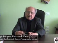 Intervista a Giuseppe Longo, Sindaco di Cleto - 30 aprile 2020
