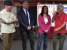 Ugo Spagnuolo,Luca Loffredo,Monica Lozzi e Ninetto Davoli intervenuti alla presentazione del Murale VUOTI DI MEMORIA di Ugo Spagnuolo