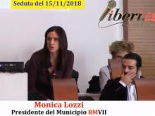 Monica Lozzi, Presidente del Municipio RMVII - Seduta del Consiglio Municipale Roma VII del 15/11/2018