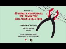La locandina dell'evento per l'eliminazione della violenza sulle donne di Cosenza del 23 novembre 2019