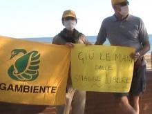 """""""Giù le mani dalle spiagge libere"""" - Flashmob organizzato dal Circolo Legambiente Terracina 12.06.20"""